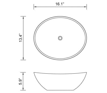 "vidaXL Luxury Ceramic Basin Oval-shaped Black 16.1""x13.4""[6/6]"