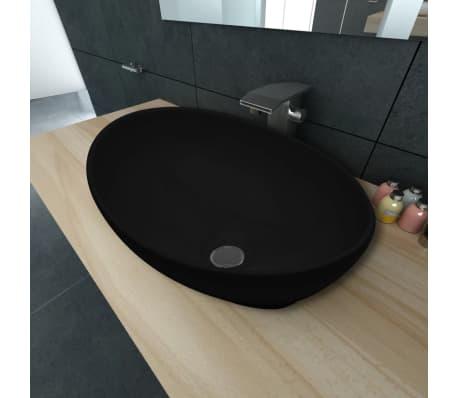 "vidaXL Luxury Ceramic Basin Oval-shaped Black 16.1""x13.4""[1/6]"