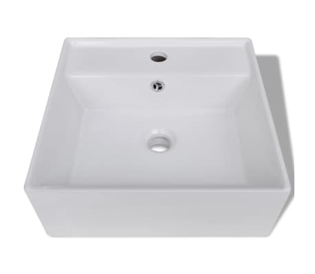 "vidaXL Ceramic Basin with Overflow & Faucet Hole 16.1""x16.1"" White[4/8]"