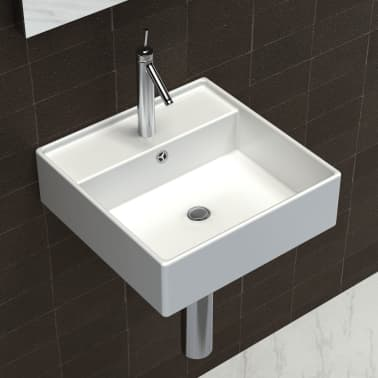 "vidaXL Ceramic Basin with Overflow & Faucet Hole 16.1""x16.1"" White[3/8]"