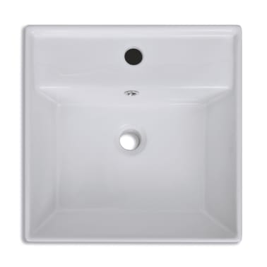 "vidaXL Ceramic Basin with Overflow & Faucet Hole 16.1""x16.1"" White[5/8]"