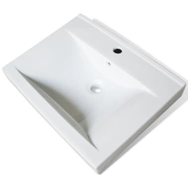 "vidaXL Luxury Ceramic Basin with Faucet Hole 23.6""x18.1"" White[2/6]"