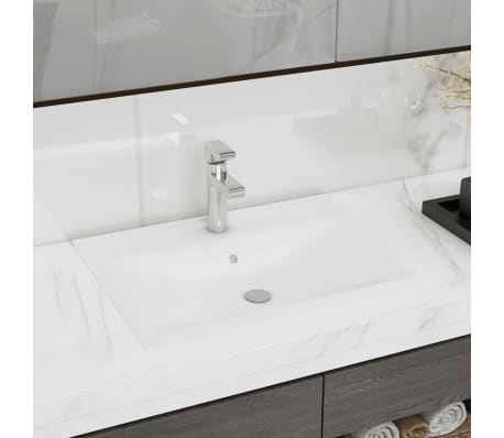"vidaXL Luxury Ceramic Basin with Faucet Hole 23.6""x18.1"" White[1/6]"