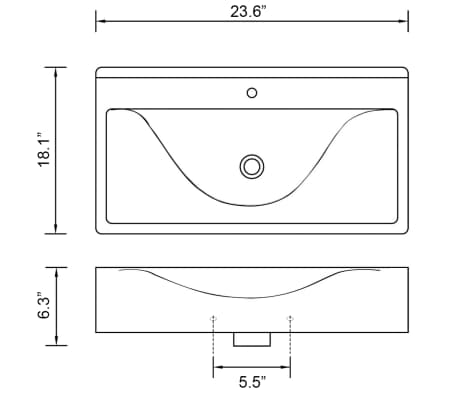 "vidaXL Luxury Ceramic Basin with Faucet Hole 23.6""x18.1"" Black[6/6]"