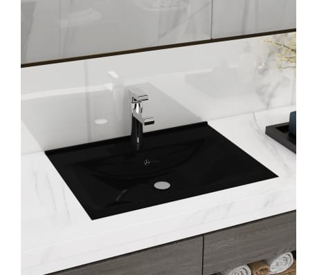 "vidaXL Luxury Ceramic Basin with Faucet Hole 23.6""x18.1"" Black[1/6]"