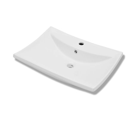 "vidaXL Ceramic Basin with Overflow & Faucet Hole 24""x17.3"" White[2/8]"