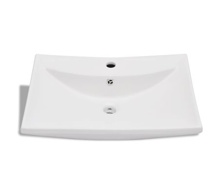 "vidaXL Ceramic Basin with Overflow & Faucet Hole 24""x17.3"" White[4/8]"