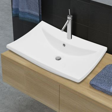 "vidaXL Ceramic Basin with Overflow & Faucet Hole 24""x17.3"" White[3/8]"