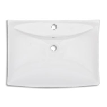 "vidaXL Ceramic Basin with Overflow & Faucet Hole 24""x17.3"" White[5/8]"