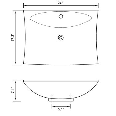 "vidaXL Ceramic Basin with Overflow & Faucet Hole 24""x17.3"" White[8/8]"