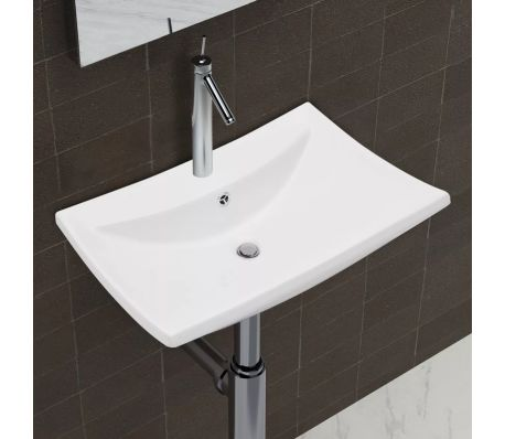 "vidaXL Ceramic Basin with Overflow & Faucet Hole 24""x17.3"" White[1/8]"