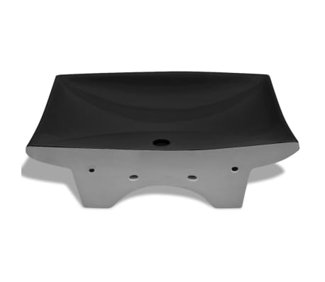 "vidaXL Ceramic Basin with Overflow & Faucet Hole 24""x17.3"" Black[6/8]"