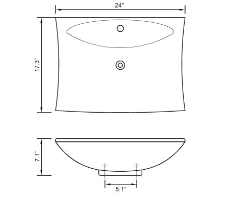 "vidaXL Ceramic Basin with Overflow & Faucet Hole 24""x17.3"" Black[8/8]"