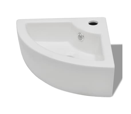 "vidaXL Bathroom Basin Ceramic 17.3""x12.2"" White[2/7]"