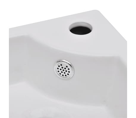 "vidaXL Bathroom Basin Ceramic 17.3""x12.2"" White[5/7]"