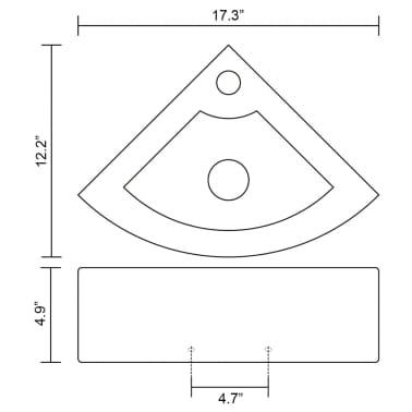 "vidaXL Bathroom Basin Ceramic 17.3""x12.2"" White[7/7]"