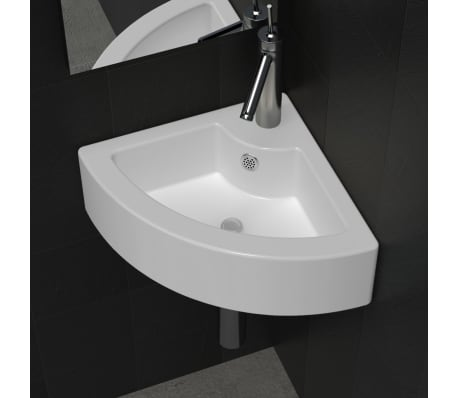 "vidaXL Bathroom Basin Ceramic 17.3""x12.2"" White[1/7]"