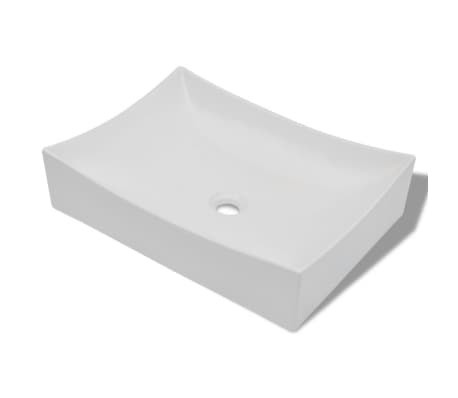 "vidaXL Bathroom Basin with Faucet Hole Ceramic 25.8""x15.4"" White[2/5]"