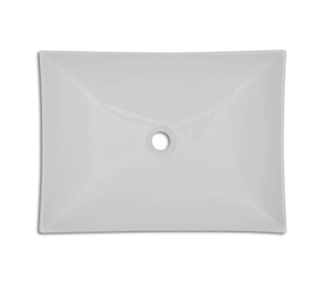 "vidaXL Bathroom Basin with Faucet Hole Ceramic 25.8""x15.4"" White[4/5]"
