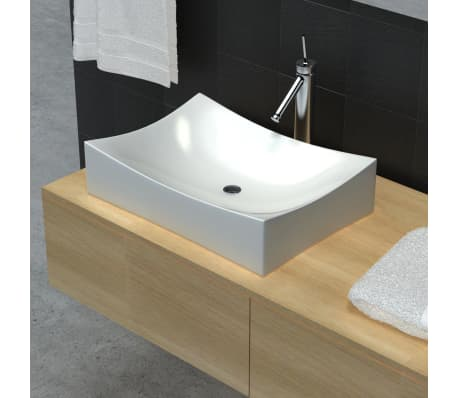 "vidaXL Bathroom Basin with Faucet Hole Ceramic 25.8""x15.4"" White[1/5]"