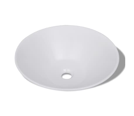 vidaXL Bathroom Basin with Faucet Hole Ceramic White[3/5]