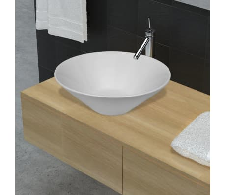 vidaXL Bathroom Basin with Faucet Hole Ceramic White[1/5]