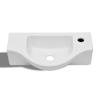 vidaXL Bathroom Basin with Faucet Hole Ceramic White[3/6]
