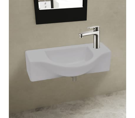 vidaXL Bathroom Basin with Faucet Hole Ceramic White[1/6]