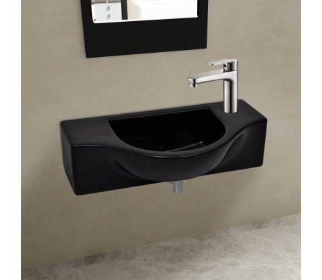 vidaXL Bathroom Basin with Faucet Hole Ceramic Black[1/6]
