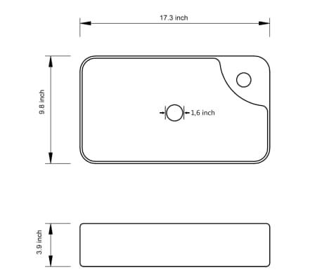 """vidaXL Bathroom Basin Ceramic Black 17.3""""x9.8""""x3.9""""[5/5]"""