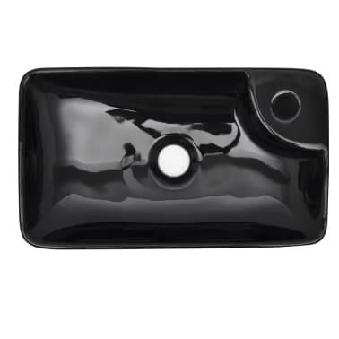 """vidaXL Bathroom Basin Ceramic Black 17.3""""x9.8""""x3.9""""[3/5]"""