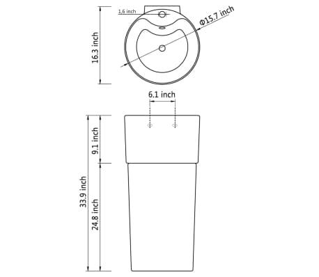 """vidaXL Bathroom Basin Ceramic Black 15.7""""x16.3""""x33.9""""[7/7]"""