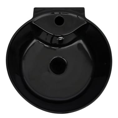 """vidaXL Bathroom Basin Ceramic Black 15.7""""x16.3""""x33.9""""[5/7]"""