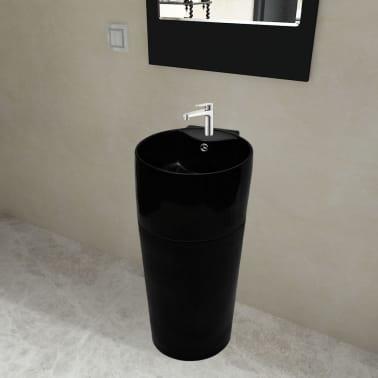 """vidaXL Bathroom Basin Ceramic Black 15.7""""x16.3""""x33.9""""[1/7]"""