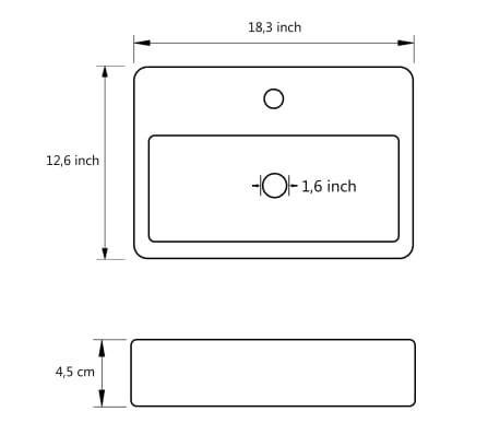 "vidaXL Bathroom Basin Ceramic White 18.3""x12.6""x4.5""[6/6]"
