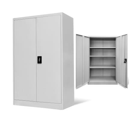 vidaXL Office Cabinet 90x40x140 cm Steel Grey[1/9]