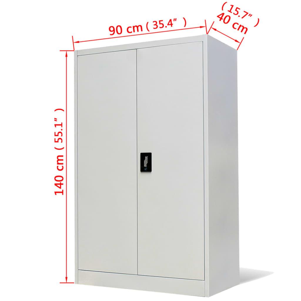 vidaXL Kantoorkast 90x40x140 cm staal grijs