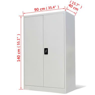 vidaXL Office Cabinet 90x40x140 cm Steel Grey[9/9]