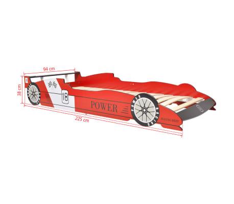 vidaXL Vaikiška lova lenktyninė mašina, 90x200 cm, raudona[6/6]
