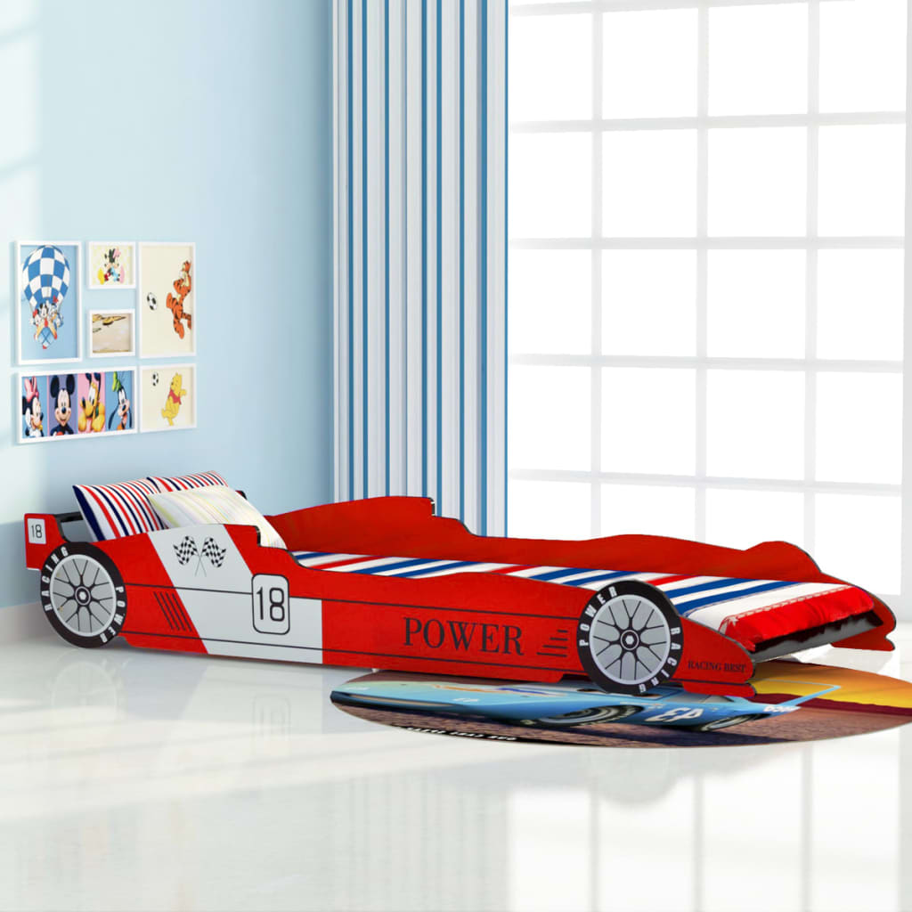 Dětská postel ve tvaru závodního auta 90x200 cm červená