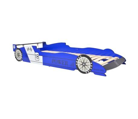 vidaXL bērnu gulta, sacīkšu mašīnas dizains, 90x200 cm, zila