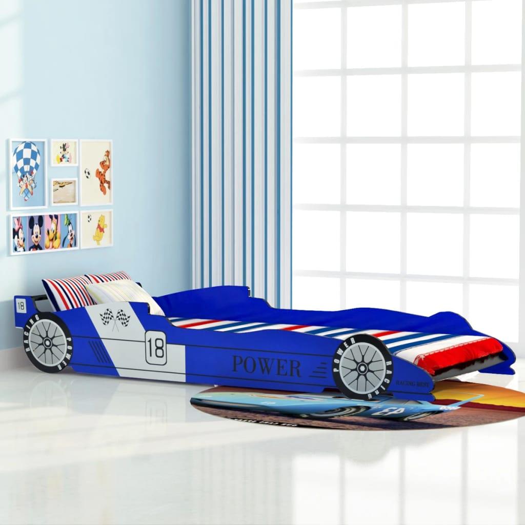 vidaXL Pat pentru copii mașină de curse 90 x 200 cm, albastru vidaxl.ro