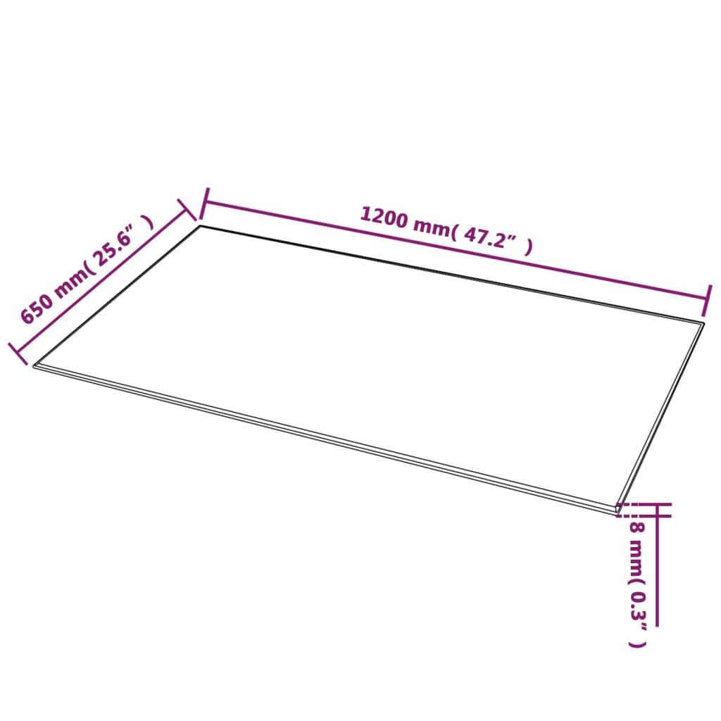 vidaXL Tafelblad van gehard glas 1200x650 mm rechthoekig