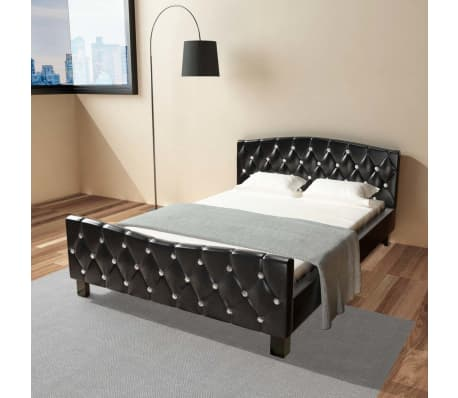 acheter vidaxl lit double avec matelas cuir artificiel noir 140 x 200 cm pas cher. Black Bedroom Furniture Sets. Home Design Ideas