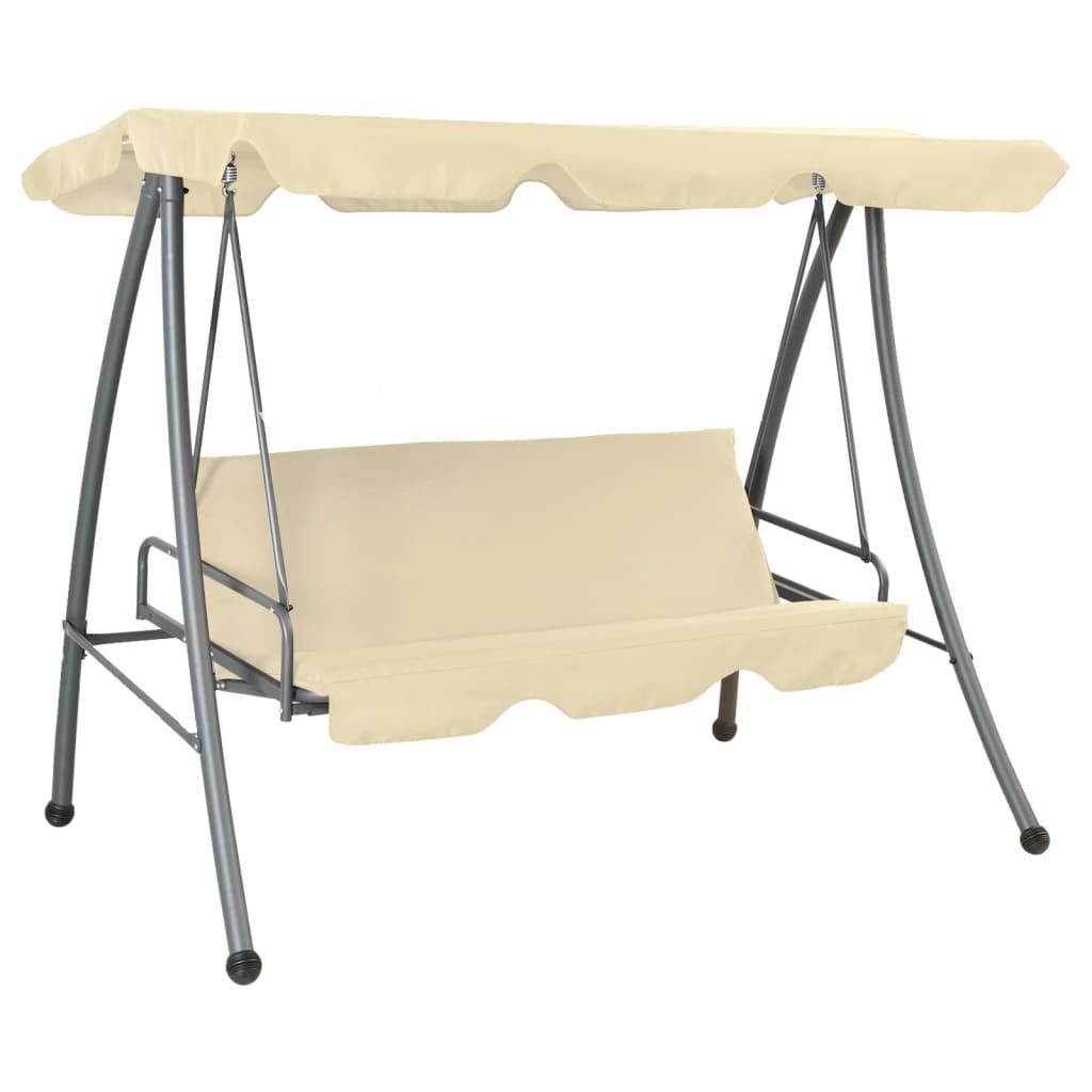 Afbeelding van vidaXL Schommelstoel voor buiten met luifel zandwit