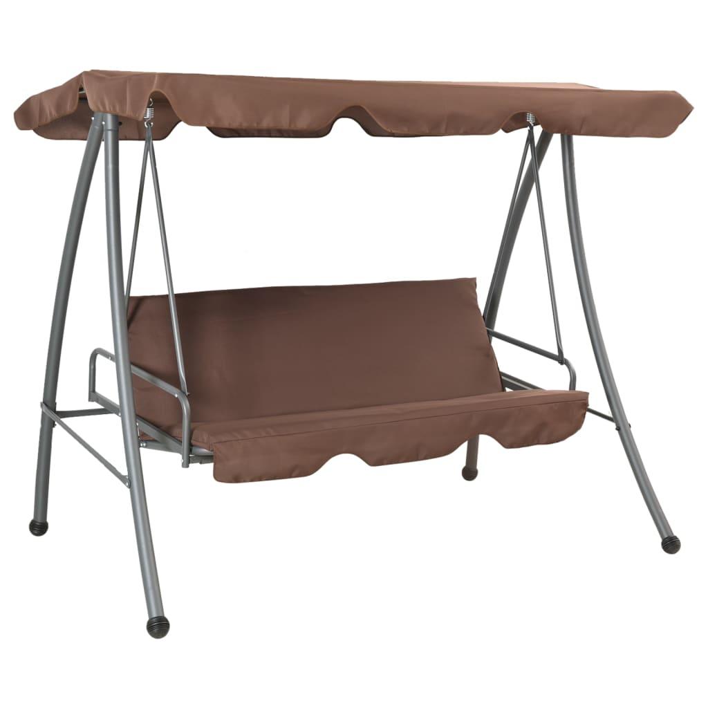 Afbeelding van vidaXL Schommelstoel voor buiten met luifel koffiekleur
