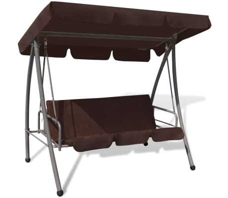 43238 vidaXL Outdoor Swing Bench with Canopy Coffee