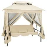 vidaXL Paviljong med hammock gräddvit