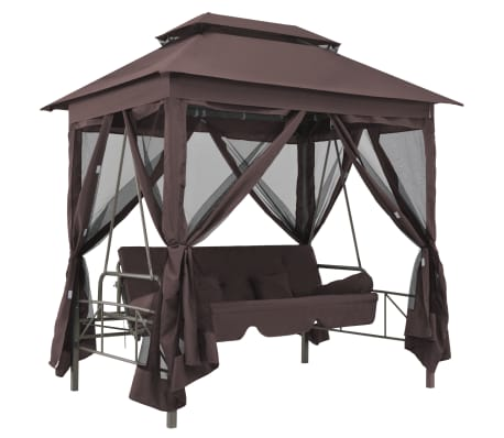 vidaXL Gazebo Convertible Swing Bench Coffee