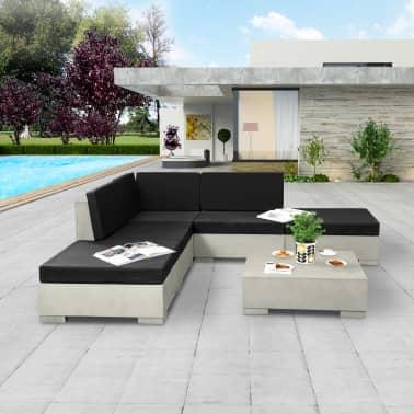 vidaXL 6-cz. zestaw wypoczynkowy do ogrodu, poduszki, beton, szary[1/11]